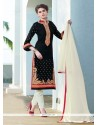Mystic Cotton Satin Patch Border Work Churidar Designer Suit