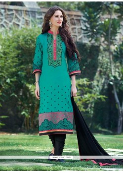 Beguiling Embroidered Work Blue Churidar Designer Suit
