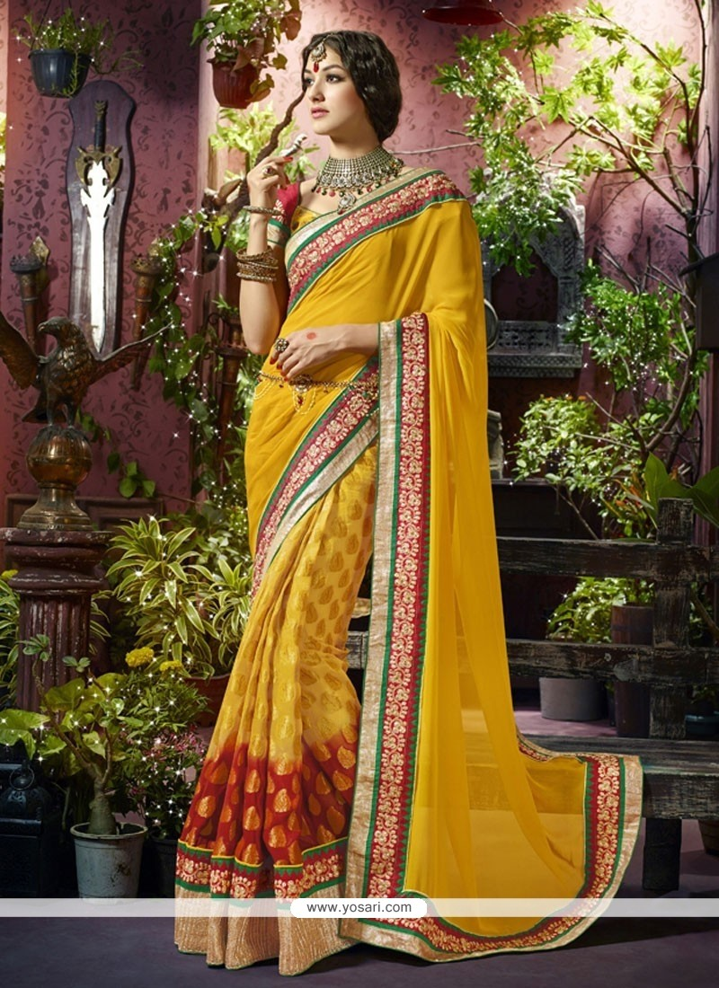 Excellent Yellow Viscose Designer Saree
