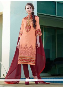 Adorable Embroidered Work Orange Cotton Satin Churidar Designer Suit