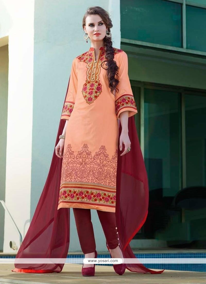 Adorable Embroidered Work Orange Cotton Satin Churidar Designer Suit