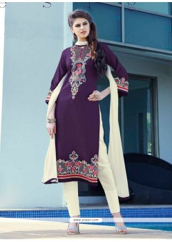 Trendy Purple Patch Border Work Cotton Satin Churidar Designer Suit