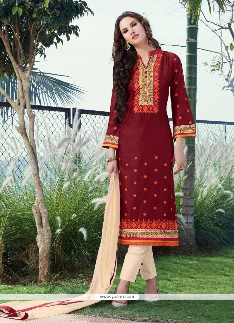 Resplendent Cotton Satin Patch Border Work Churidar Designer Suit