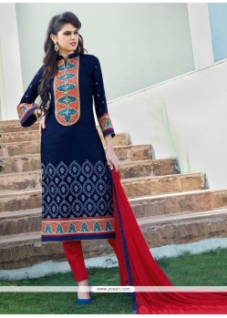 Navy Blue Cotton Satin Churidar Designer Suit
