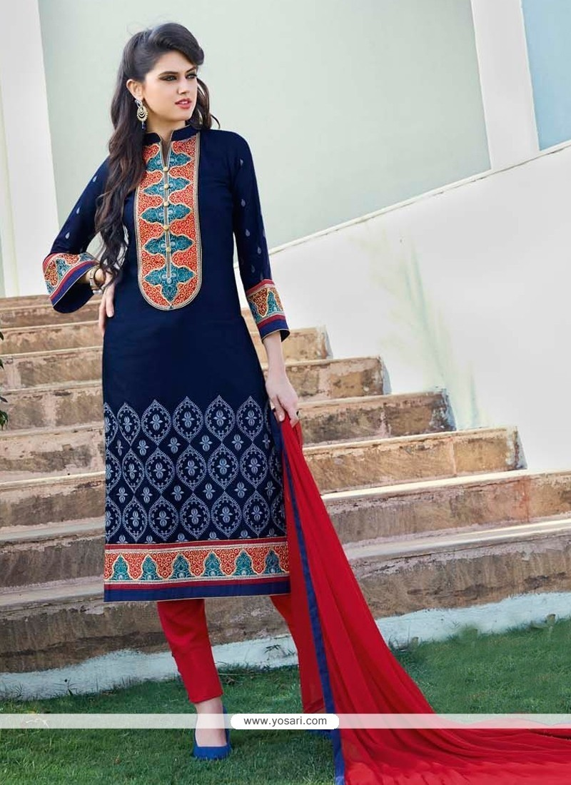 Navy Blue Cotton Satin Churidar Designer Suit