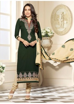 Karishma Kapoor Green Cotton Churidar Designer Suit