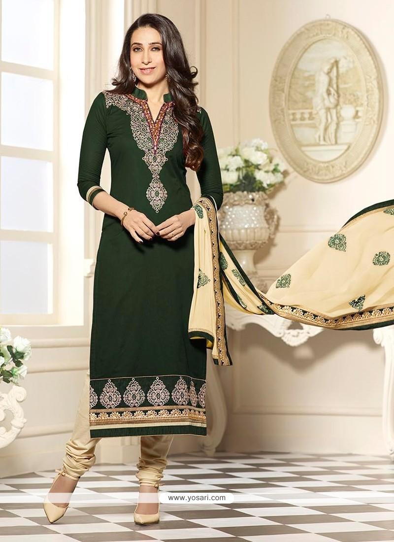 Karishma Kapoor Green Cotton Churidar Designer Suit