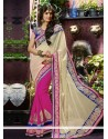 Pink And Cream Georgette Party Wear Saree