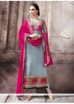 Exceeding Embroidered Work Grey Pure Georgette Designer Straight Salwar Suit