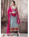 Exceeding Embroidered Work Grey Pure Georgette Designer Straight Salwar Suit