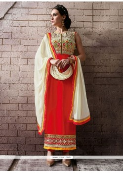 Noble Patch Border Work Pure Georgette Orange Designer Straight Salwar Suit