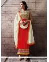 Noble Patch Border Work Pure Georgette Orange Designer Straight Salwar Suit