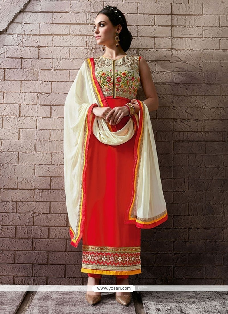 941701f96fc Noble Patch Border Work Pure Georgette Orange Designer Straight Salwar Suit