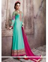 Voguish Turquoise Embroidered Work Pure Georgette Designer Straight Salwar Suit