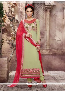 Fine Patch Border Work Pure Georgette Designer Straight Salwar Suit