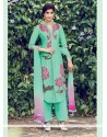 Mesmerizing Cotton Satin Green Resham Work Designer Salwar Suit