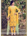 Baronial Embroidered Work Yellow Cotton Satin Churidar Designer Suit
