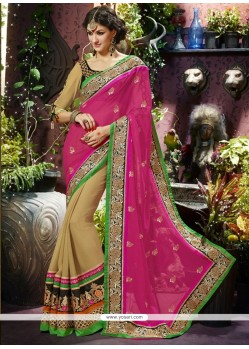 Pink And Cream Georgette Designer Saree
