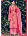 Fascinating Cotton Satin Embroidered Work Designer Salwar Suit