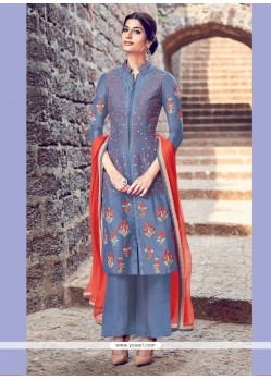 Princely Resham Work Cotton Satin Blue Designer Salwar Suit