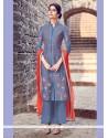 Princely Resham Work Cotton Satin Blue Designer Salwar Suit