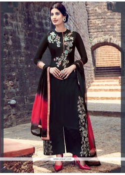 Fab Cotton Satin Black Designer Salwar Suit