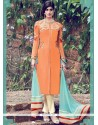 Gripping Cotton Satin Orange Churidar Designer Suit