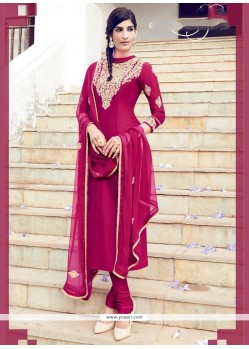 Sterling Hot Pink Lace Work Cotton Satin Churidar Designer Suit