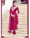 Sterling Hot Pink Lace Work Cotton Satin Churidar Designer Suit