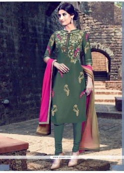 Spectacular Green Churidar Designer Suit