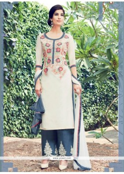 Hypnotic Cotton Satin White Embroidered Work Designer Salwar Suit