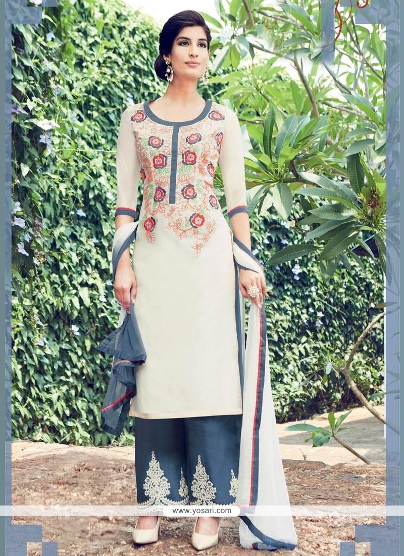 Hypnotic Cotton Satin White Embroidered Work Designer Salwar Suit