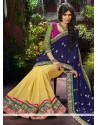 Conspicuous Blue And Yellow Georgette Designer Saree