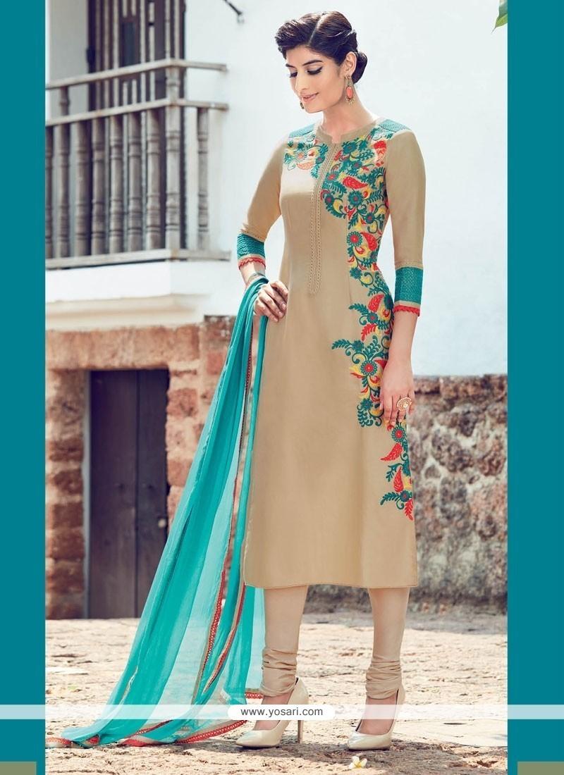 Dilettante Cotton Satin Churidar Designer Suit