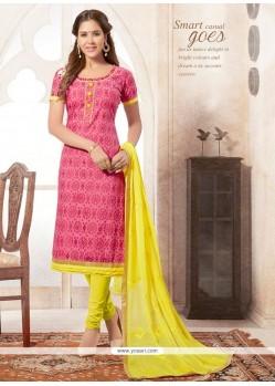 Luxurious Pink And Yellow Churidar Designer Suit