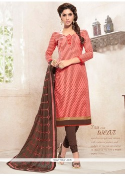 Exciting Lace Work Cotton Peach Churidar Designer Suit