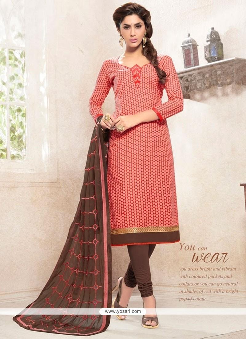 Exciting Lace Work Cotton Peach Churidar Designer Suit