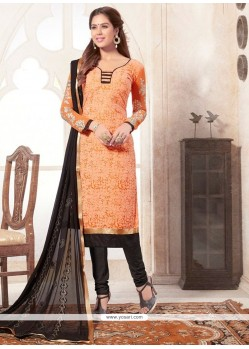 Genius Orange Lace Work Jacquard Churidar Designer Suit