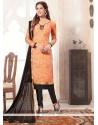 Genius Orange Lace Work Jacquard Churidar Designer Suit