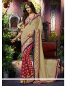 Blooming Cream And Red Viscose Designer Saree