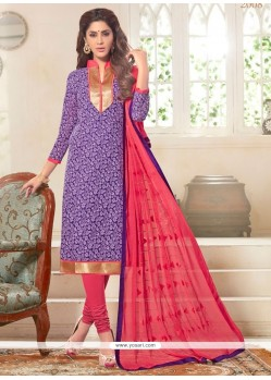 Purple Jacquard Churidar Designer Suit