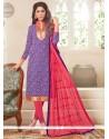 Purple Jacquard Churidar Designer Suit