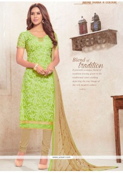 Praiseworthy Cotton Green Print Work Churidar Designer Suit