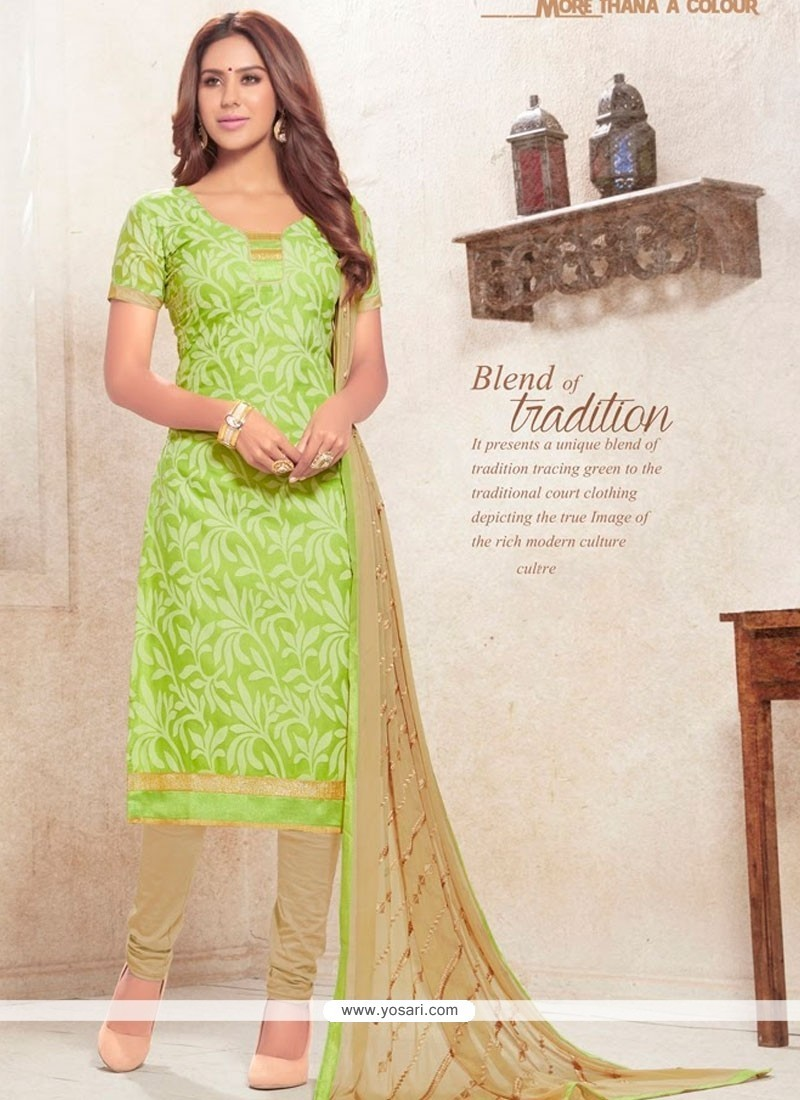 Praiseworthy Cotton Green Print Work Churidar Designer Suit