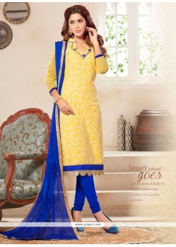 Entrancing Cotton Yellow Churidar Designer Suit
