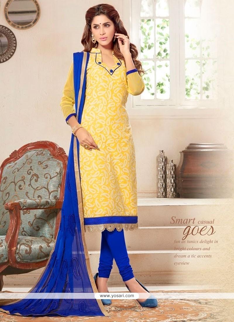 Entrancing Cotton Yellow Churidar Designer Suit