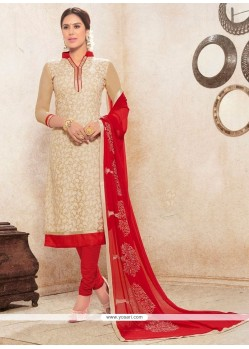 Incredible Beige And Red Print Work Churidar Designer Suit