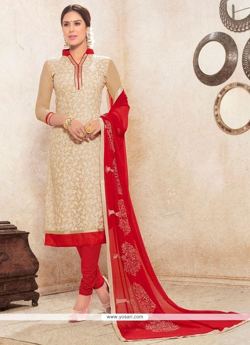Incredible Beige And Red Print Work Churidar Designer Suit