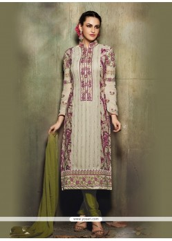 Pretty Resham Work Multi Colour Churidar Designer Suit