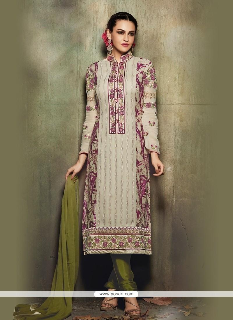 Pretty Resham Work Multi Colour Churidar Designer Suit